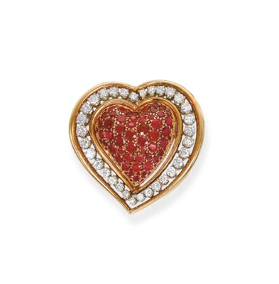 A RUBY AND DIAMOND HEART BROOC