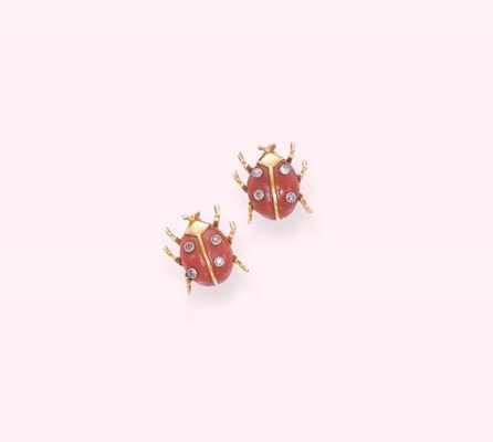 A PAIR OF CORAL LADYBIRD BROOC