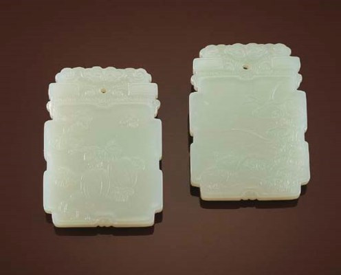 A FINE PAIR OF WHITE JADE RECT