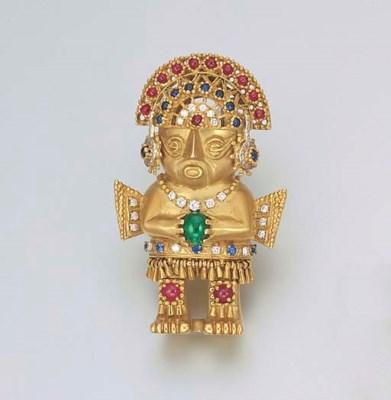 AN AZTEC STYLE 18K GOLD, DIAMO