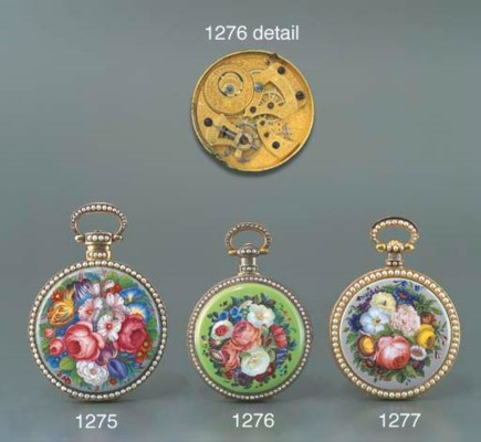 BOVET. A GOLD, ENAMEL AND PEAR