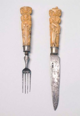 A 16TH CENTURY IVORY HANDLED K