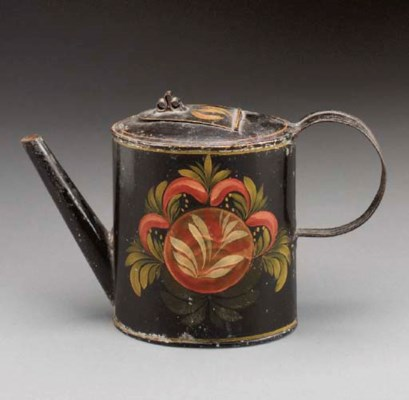 A PAINT DECORATED TOLEWARE TEA