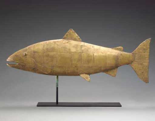 A CARVED AND GILDED WOODEN COD