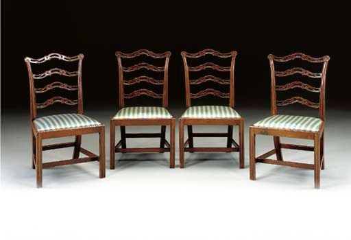 A SET OF FOUR CHIPPENDALE MAHO