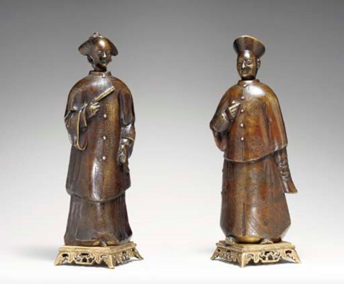 A PAIR OF CHINA TRADE BRONZE F