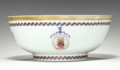 A MASONIC ARMORIAL PUNCHBOWL