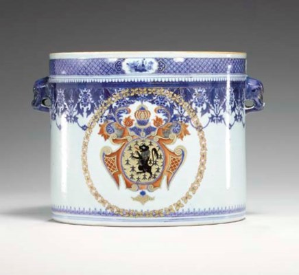 AN ARMORIAL BOTTLE COOLER