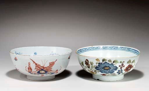 TWO ENGLISH DELFT SMALL PUNCH