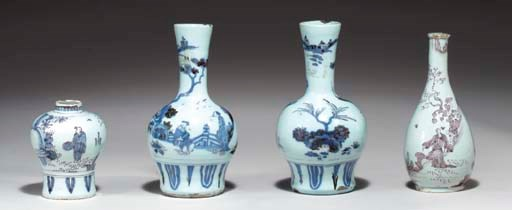 FOUR DUTCH DELFT SMALL CHINOIS