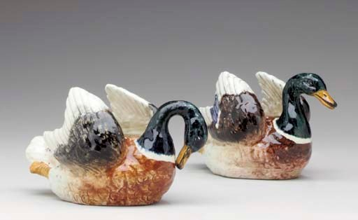 TWO FRENCH MAJOLICA SMALL DUCK