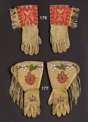A PAIR OF SIOUX QUILLED AND FR