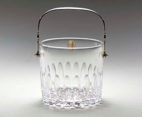 A SILVER-MOUNTED CUT-GLASS ICE