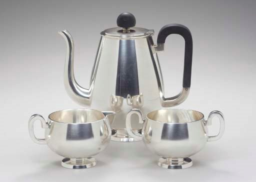 A DANISH SILVER THREE-PIECE CO
