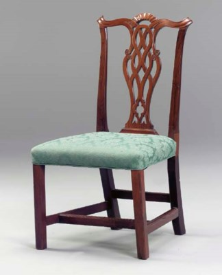 A CHIPPENDALE MAHOGANY SIDE-CH