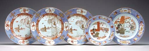 A GROUP OF FIVE CHINESE IMARI
