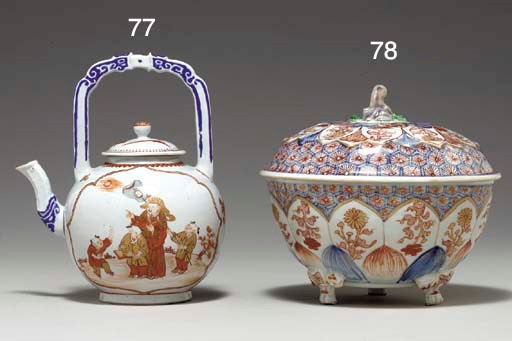 AN ENAMEL AND GILT TEAPOT AND