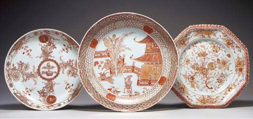 THREE IRON-RED AND GILT DISHES