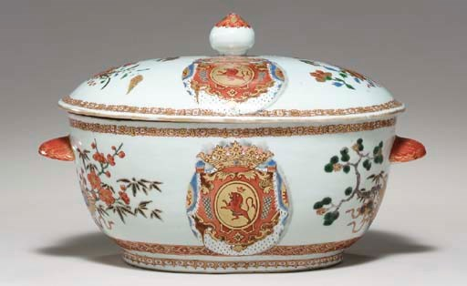 A FRENCH ARMORIAL TUREEN AND C