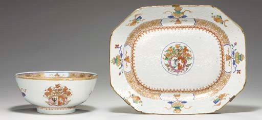AN ARMORIAL PLATTER AND A BOWL