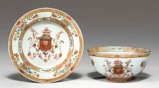 AN ARMORIAL SMALL BOWL AND A S