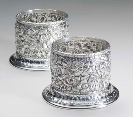 A PAIR OF AMERICAN SILVER WINE