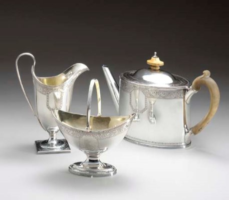 AN ASSEMBLED FOUR-PIECE TEA SE