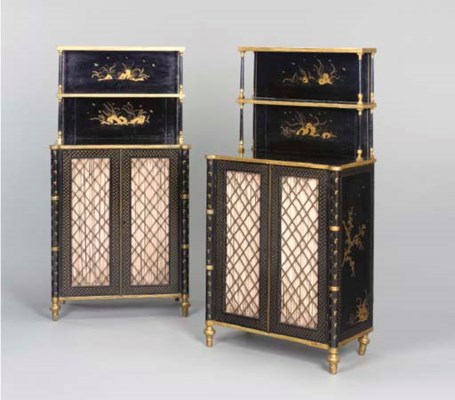 A PAIR OF REGENCY BLACK AND GO