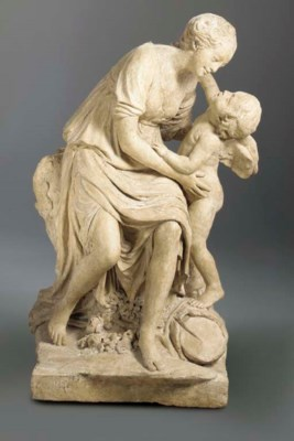 A LARGE PAINTED PLASTER FIGURA