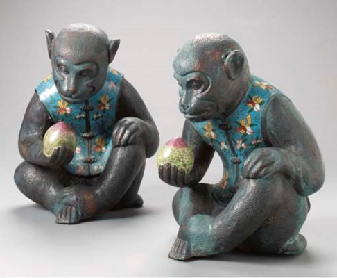 A PAIR OF CHINESE PATINATED ME
