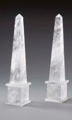 A PAIR OF ROCK CRYSTAL OBELISK