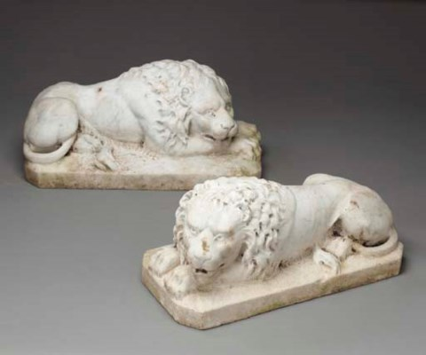 A PAIR OF CARVED WHITE MARBLE