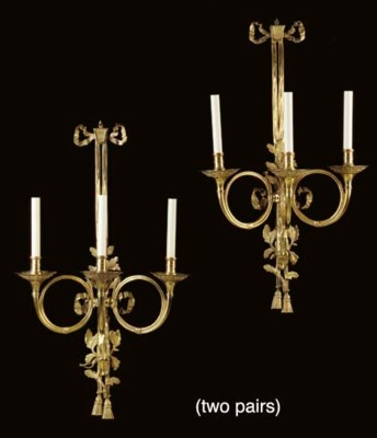 TWO PAIRS OF LOUIS XV STYLE OR