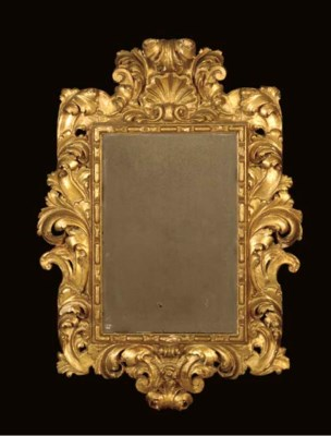 A BAROQUE STYLE GILTWOOD MIRRO