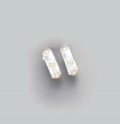 A PAIR OF DIAMOND AND 18K WHIT
