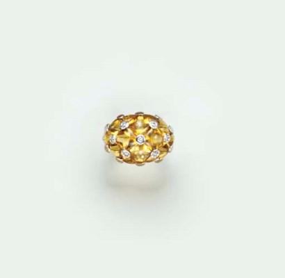 A CITRINE, DIAMOND AND 18K WHI