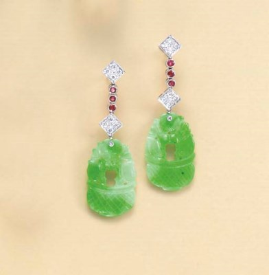 A PAIR OF JADEITE, RUBY, DIAMO