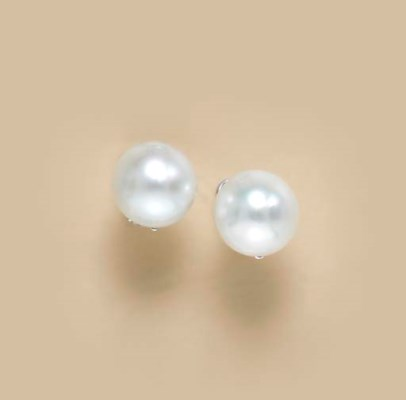 A PAIR OF CULTURED PEARL AND 1