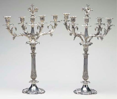 A PAIR OF SILVER-PLATED FIVE-L