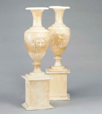 A PAIR OF FRENCH ALABASTER URN
