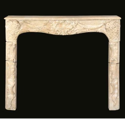 A FRENCH LIMESTONE CHIMNEYPIEC