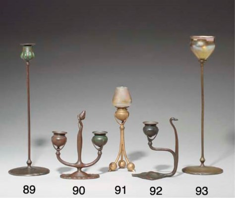 A DECORATED FAVRILE GLASS AND