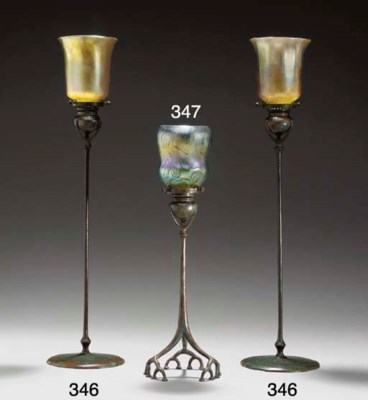 A PAIR OF FAVRILE GLASS AND BR