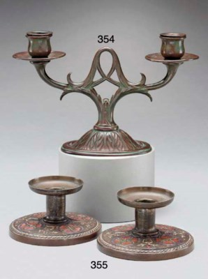 A PAIR OF ENAMELED COPPER CAND