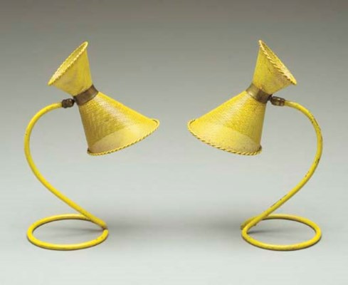A PAIR OF YELLOW-PAINTED PIERC
