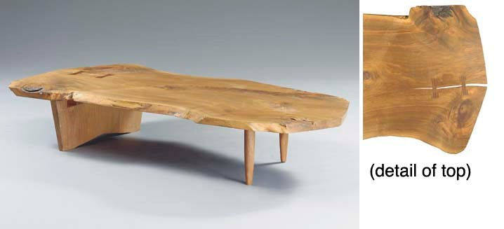 A WALNUT SLAB COFFEE TABLE