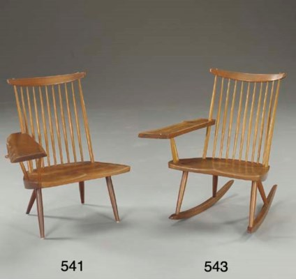 A WALNUT LOUNGE CHAIR ROCKER W