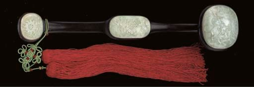 A WHITE JADE AND HARDWOOD RUYI