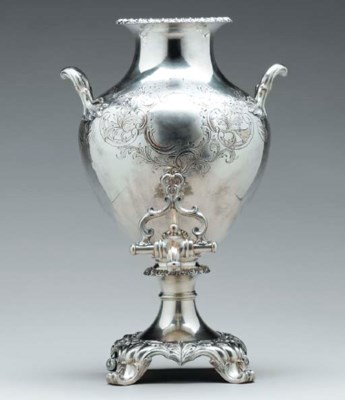 A SILVER-PLATED SAMOVAR,