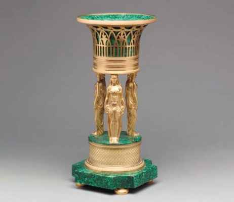 AN EMPIRE STYLE MALACHITE AND